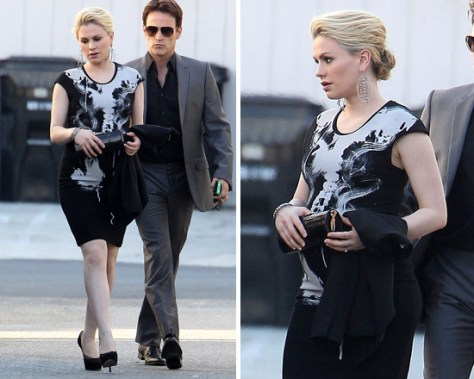 Anna Paquin Alexander McQueen X-Ray Cap Sleeve Dress