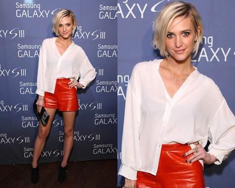 ashlee-simpson-alice-olivia-Shana-Button-Down-Blouse-leather-shorts