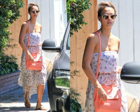 Jessica Alba in Ella Moss Georgia Strapless Dress