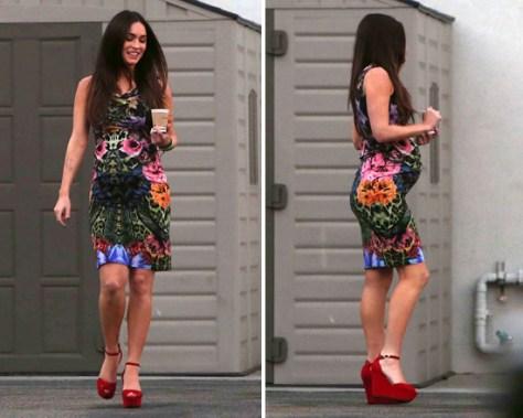 Megan Fox shows off baby bump in Roberto Cavalli Emerald Wild Carnation Dress