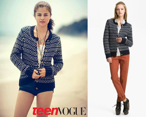 Selena Gomez wearing A.P.C. Heart Print Cardigan in Teen Vogue