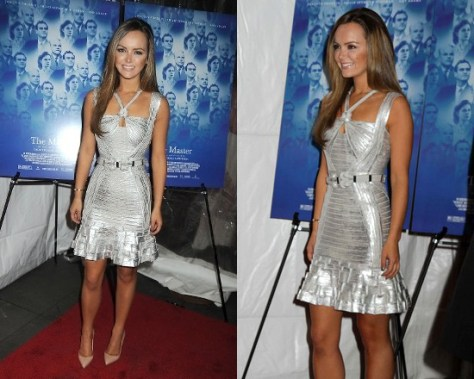 Nicole Lapin in Herve Leger Eden Foil-Print Knotted Bandage Dress