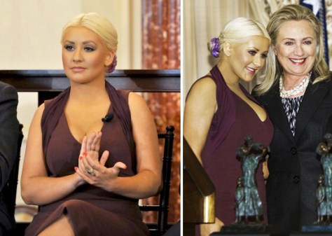 Christina Aguilera in Alexander McQueen Halter Neck Dress