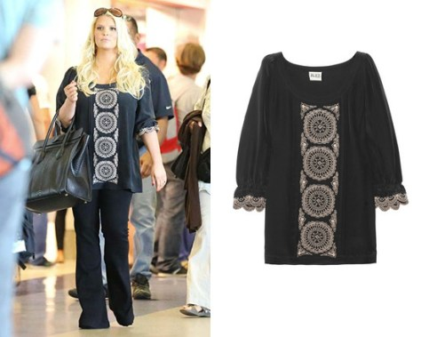 Jessica Simpson at LAX wearing ALICE by Temperley Rita Tunic
