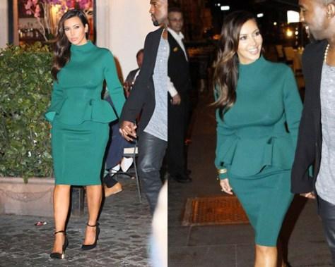 Kim Kardashian in Green Lanvin Peplum Dress