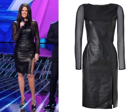 khloe-kardashian-Emilio-Pucci-Black-Croco-Embossed-Leather-Silk-Dress