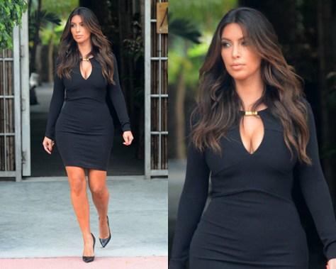 Kim Kardashian in Kardashian Kollection Black Goldbar Dress