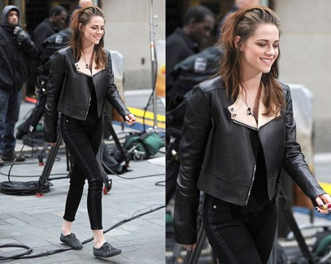 Kristen Stewart steps out in Belstaff Bowden Jacket and Hudson LouLou Tuxedo Skinny Jeans