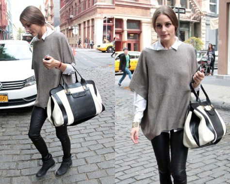 Olivia Palermo wearing Vince Short Sleeve Poncho