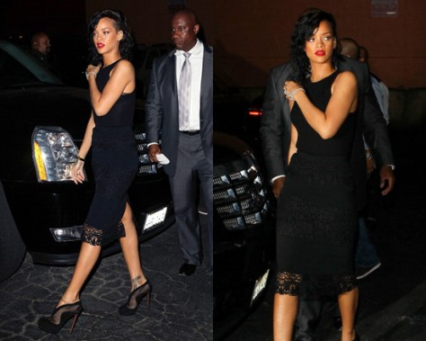 Rihanna in The Row Ribbed Dartford Top and Dolce & Gabbana Lace Panel Skirt