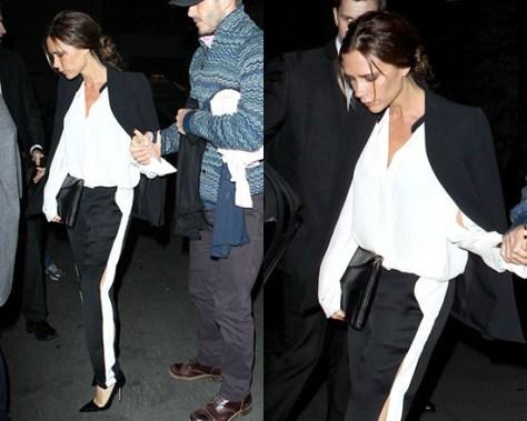 Victoria Beckham in Lanvin Silk Crepe De Chine Shirt and Jogging Pants