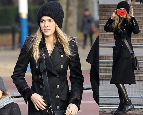 Jessica Alba steps out in Salvatore Ferragamo Coat and Rupert Sanderson Boots