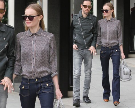 Kate Bosworth wearing Topshop Premium Piped Geo Shirt