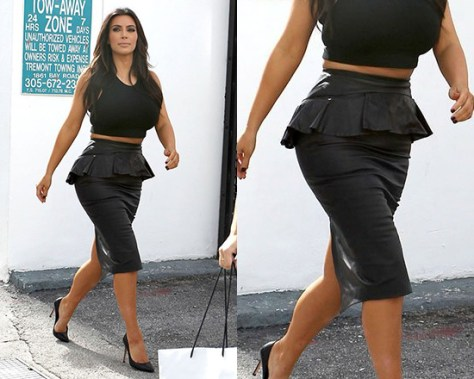Kim Kardashian steps out in Alexander McQueen Leather peplum skirt