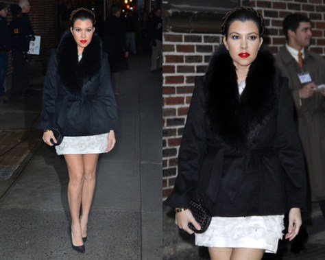 Kourtney Kardashian wearing Alice + Olivia Kyah Fur Trim Coat