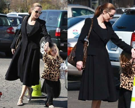 Angelina Jolie steps out wearing Alexander McQueen Riding Coat