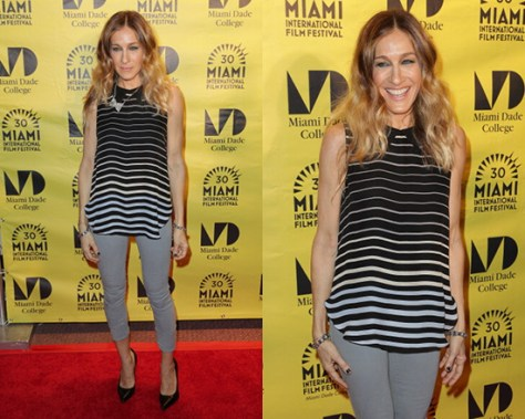 Sarah Jessica Parker wearing L'agence Sleeveless Striped Blouse