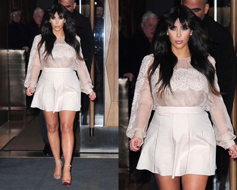 Kim Kardashian promoting in NY wearing Valentino Lace-Trimmed Silk Blouse and Salvatore Ferragamo Skirt