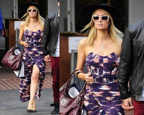 Paris Hilton in Finders Keepers Somerset Maxi Dress