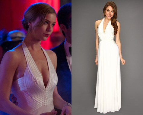 Emily VanCamp wearing BCBGMAXAZRIA Anitra Halter Gown on Revenge