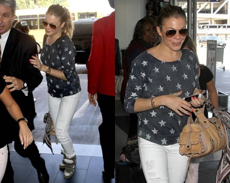 LeAnn Rimes wearing Current/Elliott The Letterman Star Knit Top