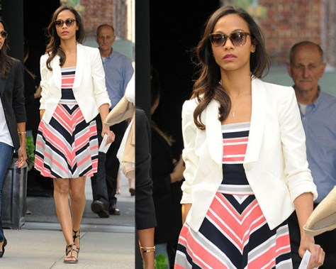 Zoe Saldana in Banana Republic Milly Collection Striped Fit and Flare Dress
