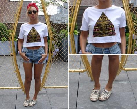 Beyonce in Topshop Tribal Triangle Crop Tee