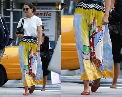 Katie Holmes steps out wearing Tsumori Chisato Printed Pleated Maxi Skirt