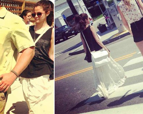 Selena Gomez wearing We The Free Mystic Tank and Ribbon Corset Maxi Skirt