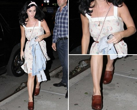 Katy Perry wearing Nina Ricci Butterfly Print Dress and Frye Audra Button Heel Clogs