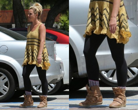 Britney Spears steps out in Free People Voile and Lace Trapeze Slip and Monica Corte Wedge Sneakers