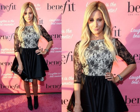 Ashley Tisdale in Alice + Olivia Katelin Boatneck Double Layer Dress