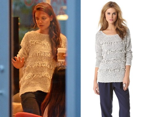 Katie Holmes wearing a fringe Joie Camille Pullover Sweater