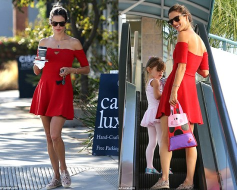 Oh My Love Off The Shoulder Skater Dress as seen on Alessandra Ambrosio