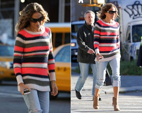 Sarah Jessica Parker wearing Splendid Bleeker Stripe Sweater