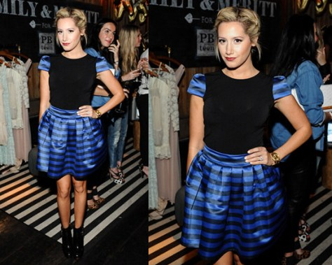 Ashley Tisdale in Alice + Olivia Kline Short Sleeve Top and Fizer Box Pleat Skirt