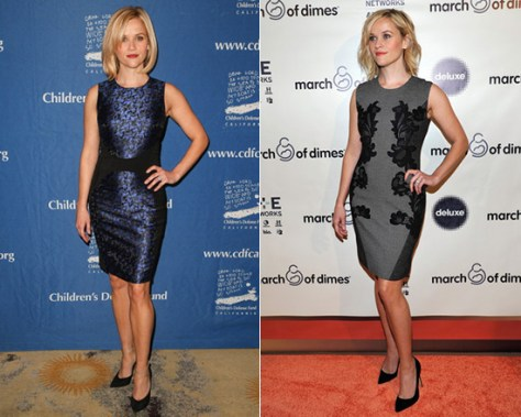 Reese Witherspoon in Michael Kors Camouflage-Jacquard Dress + Diane von Furstenberg Pentra Knit Dress