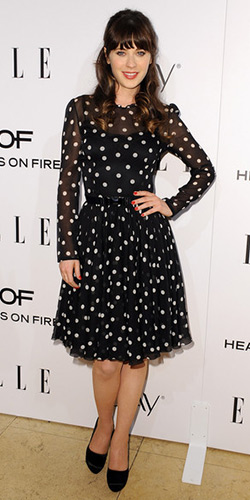Zooey Deschanel in Dolce & Gabbana Silk Polka Dot Dress