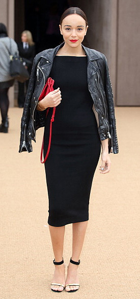 Ashley Madekwe wearing a Burberry Washed Leather Biker Jacket
