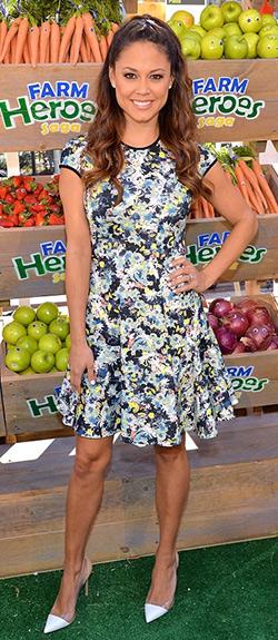 vanessa-lachey-Erdem-Garden-Print-Neoprene-Flare-Skirt-Dress