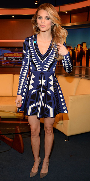 AnnaLynne McCord on Good Day New York in a Parker Emperor Napa Knit Dress