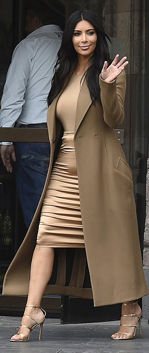 Kim Kardashian visiting Yerevan in Armenia, wearing a pair of Gianvito Rossi Triple-Strap Sandals - April 9, 2015