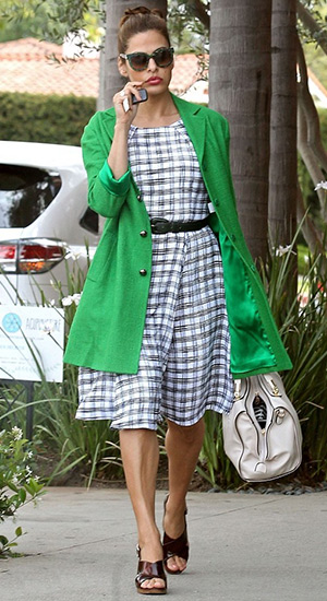 Eva Mendes, in a New York & Co. Eva Mendes Collection Plaid Riviera Dress, is seen heading to a hair salon on April 21, 2015 in Los Angeles, CA.