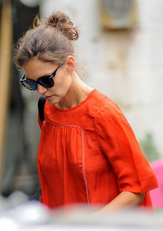 """Katie Holmes wearing a Isabel Marant Embellished Midja Blouse while arriving to the set of """"All We Had"""" in New York City on August 24, 2015."""