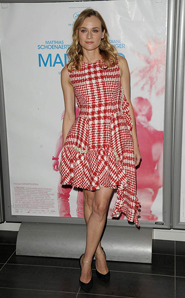 Diane Kruger wearing a Simone Rocha Checkered Tweed Dress and Casadei heels to the 'Maryland' Paris premiere at Mk2 Bibliotheque on September 24, 2015 in Paris, France.