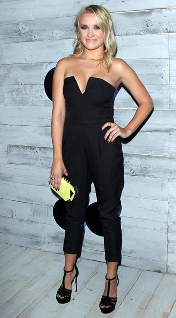 Emily Osment wearing a NBD Georgia May Jumpsuit to the VIP sneak peek of the go90 Social Entertainment Platform on September 24, 2015 in Los Angeles, CA.