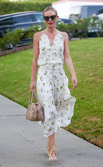 Kate Bosworth wearing a A.L.C. White Topper Dress to a friend's house in Los Angeles, CA, September 2015.