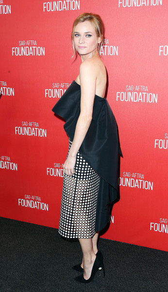 Diane Kruger in Monique Lhuillier and Nicholas Kirkwood Maeva Suede Faux Pearl Pumps at the Screen Actors Guild Foundation 30th Anniversary Celebration on November 5 in Los Angeles, CA.