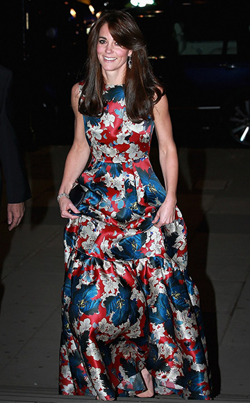 Duchess of Cambridge, Kate Middleton, wore a Erdem Alouette Tiered Floral Silk Gown to the 100 Women in Hedge Funds black tie event in London, England on October 27.