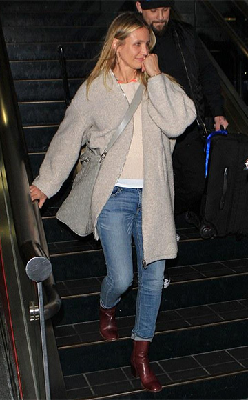 Cameron Diaz in Maison Margiela Side-Zip Red Ankle Boots at LAX